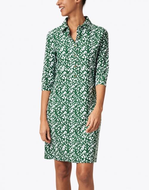 Jude Connally - Susanna Green and White Dot Print Henley Dress