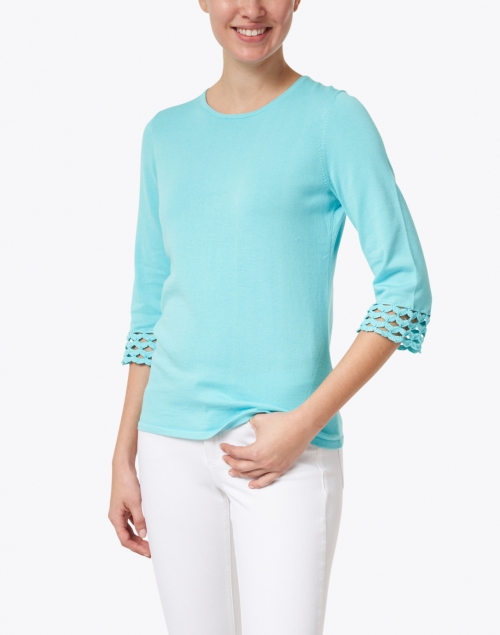 Kinross - Aqua Pima Cotton Crochet Cuff Top