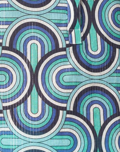 Vilagallo - Filippa Blue Lurex Geo Print Cotton Top