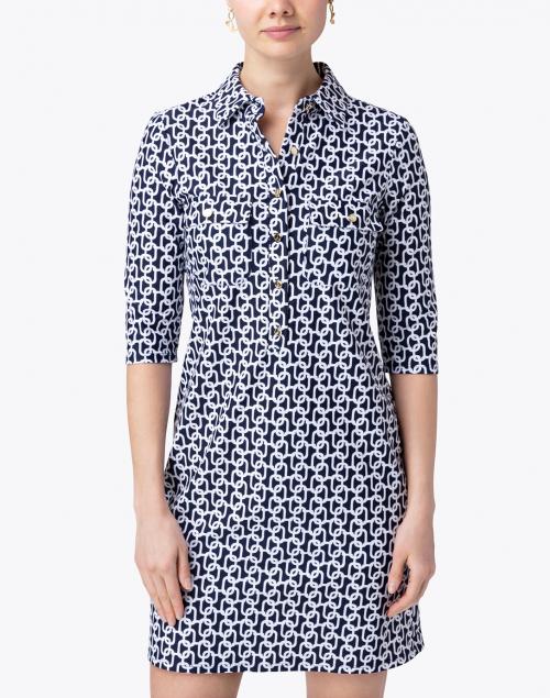 Jude Connally - Sloane Navy Chain Link Henley Dress