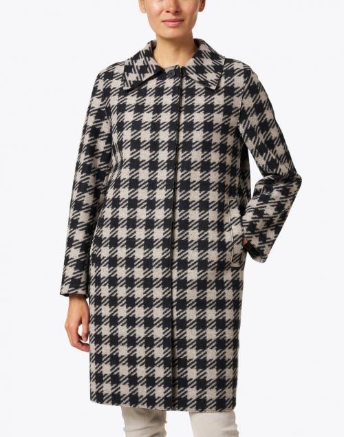 Harris Wharf London - Black and Cream Gingham Wool Blend Coat