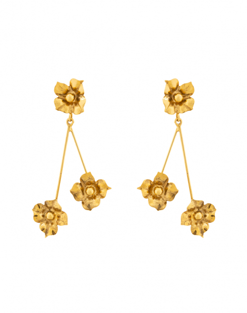 Jennifer Behr Carmen Gold Flower Drop Earrings