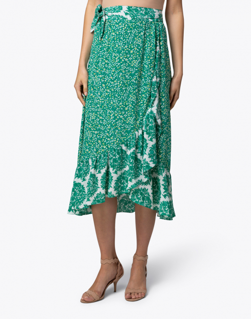 Beulah - Elena Green and White Wrap Silk Skirt