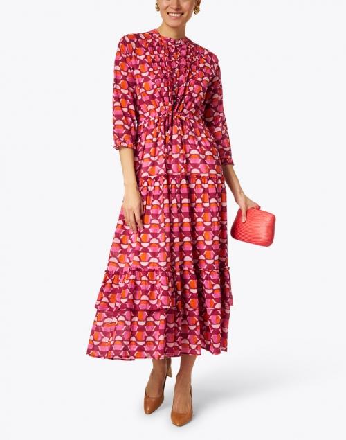 Banjanan - Brenda Pink and Orange Geometric Cotton Voile Dress