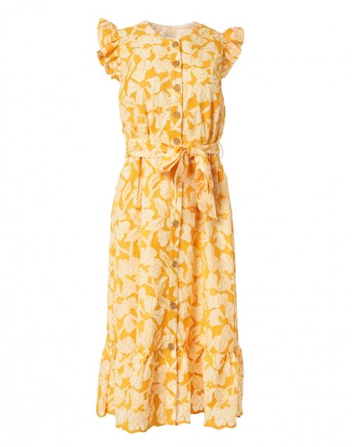 Shoshanna - Della Marigold Floral Embroidered Cotton Dress