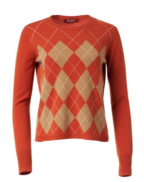 Max Mara Studio Tiglio Terracotta Argyle Wool Cashmere Sweater
