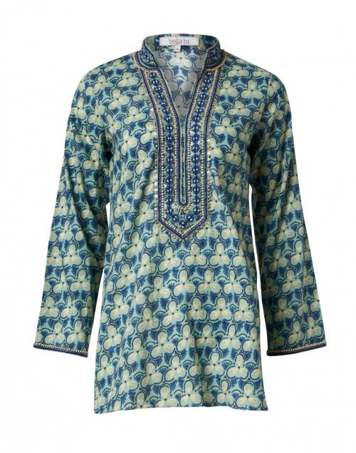 Bella Tu - Morgan Blue & Khaki Floral Printed Cotton Tunic