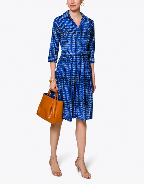 Samantha Sung - Audrey Cobalt Blue Check Cotton Shirt Dress