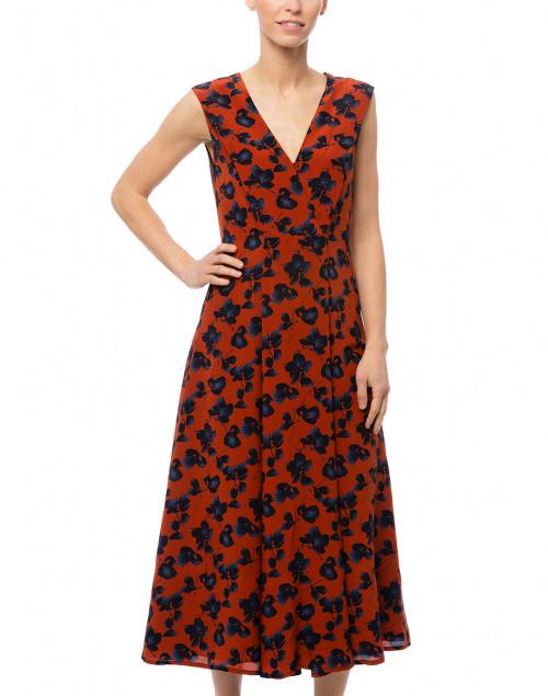 Santorelli - Silvia Rust and Blue Floral Silk Dress
