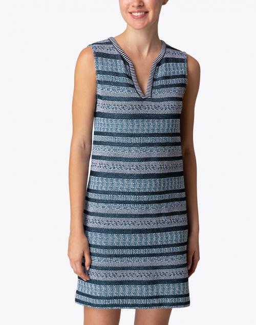 Amina Rubinacci - Cardo Teal, White and Navy Striped Dress