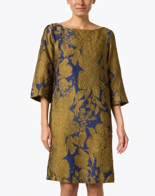 Sara Roka - Lakka Navy and Gold Silk Jacquard Dress