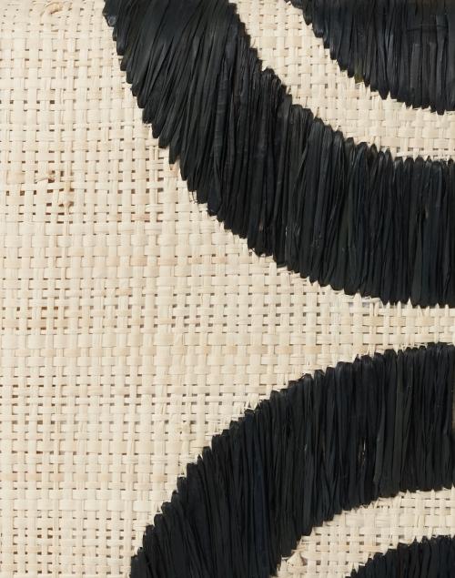 Kayu - Ottis Black Geometric Embroidered Natural Raffia Clutch