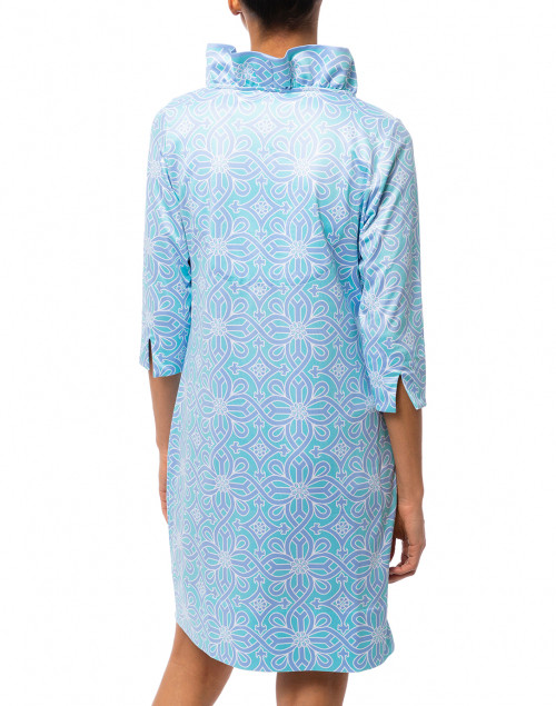 Gretchen Scott - Turquoise and Periwinkle Piazza Printed Ruffle Neck Dress