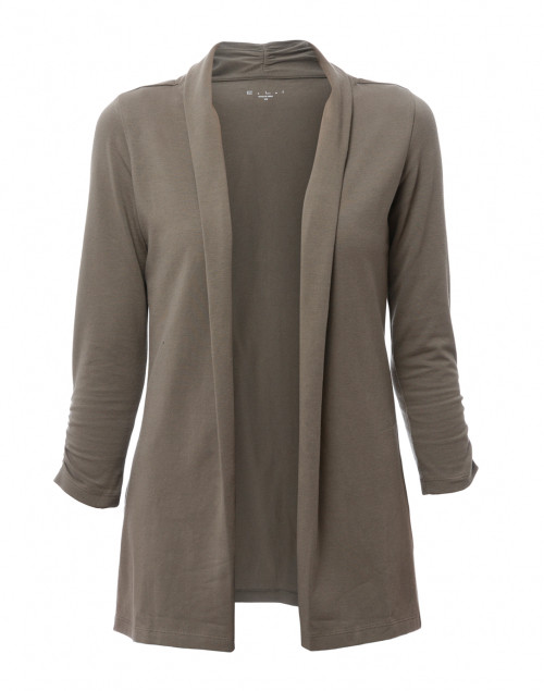 E.L.I. - Sage Green Ruched Sleeve Cotton Cardigan