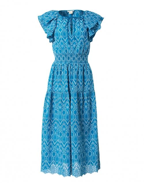 Shoshanna - Zona Teal Cotton Eyelet Dress