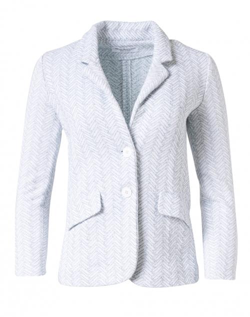 Amina Rubinacci - Eleven White and Sage Chevron Cotton Blazer