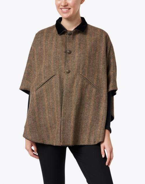 T.ba - Camel Herringbone and Black Velvet Reversible Cape