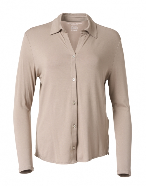 Majestic Filatures Beige Soft Touch Button Down Shirt