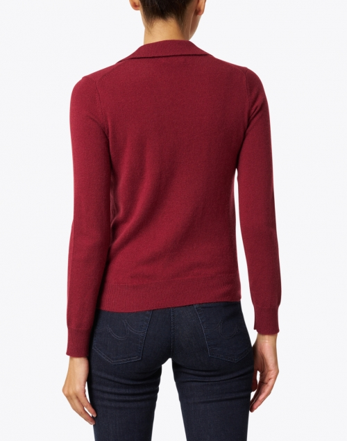 Kinross - Dark Red Cashmere Polo Sweater