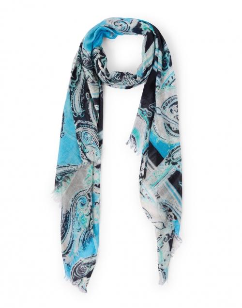 Pashma - Aqua and Navy Paisley Silk Cashmere Scarf