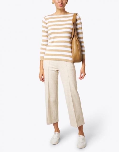 Blue - Oatmeal and White Stripe Pima Cotton Boatneck Sweater