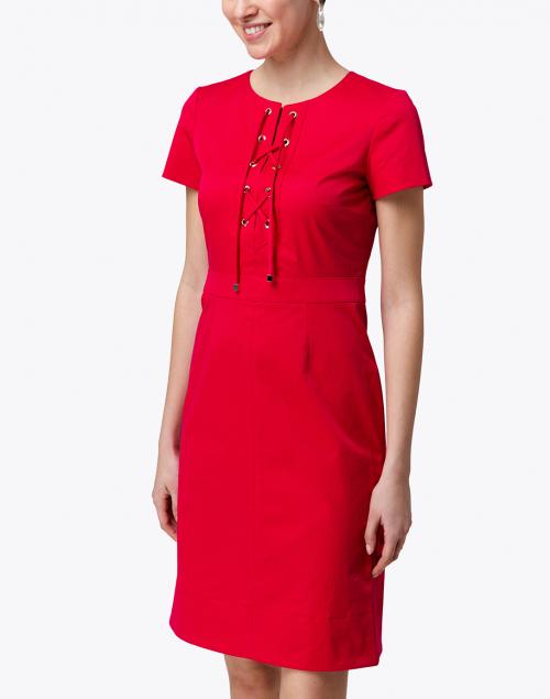Paule Ka - Raspberry Stretch Cotton Tie Front Dress