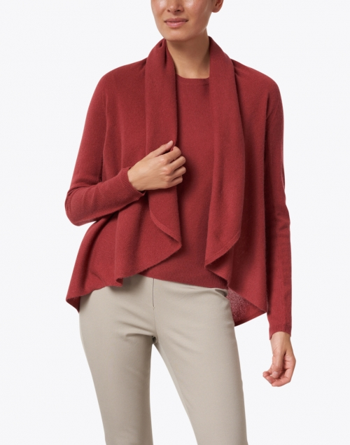 Repeat Cashmere - Terracotta Red Cashmere Circle Cardigan