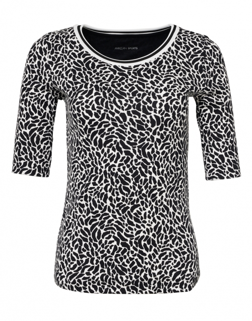 Marc Cain Sports Black and White Animal Print Stretch Cotton Top