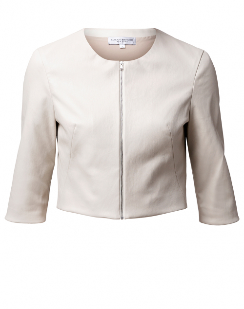 Susan Bender - Stone Stretch Leather Cropped Jacket