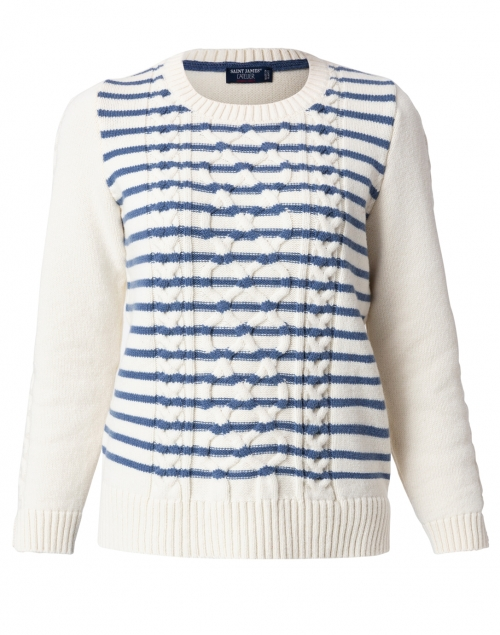 Saint James - Meribel Navy and Ivory Striped Cable Sweater