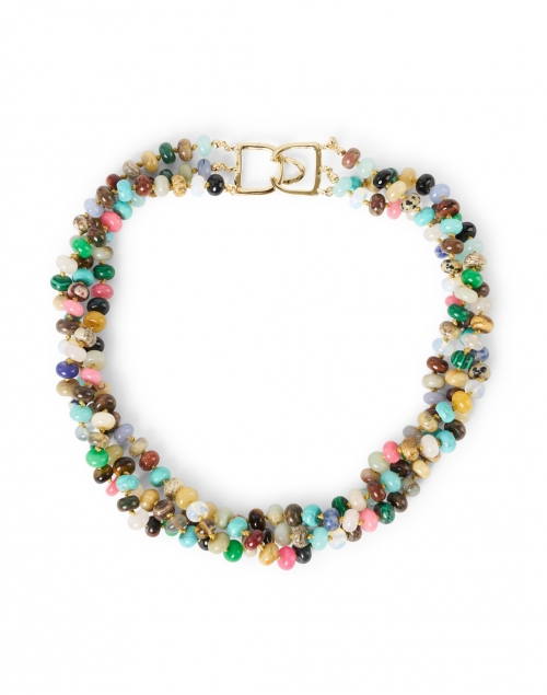 Kenneth Jay Lane - Multicolored Agate Beaded Triple Strand Necklace