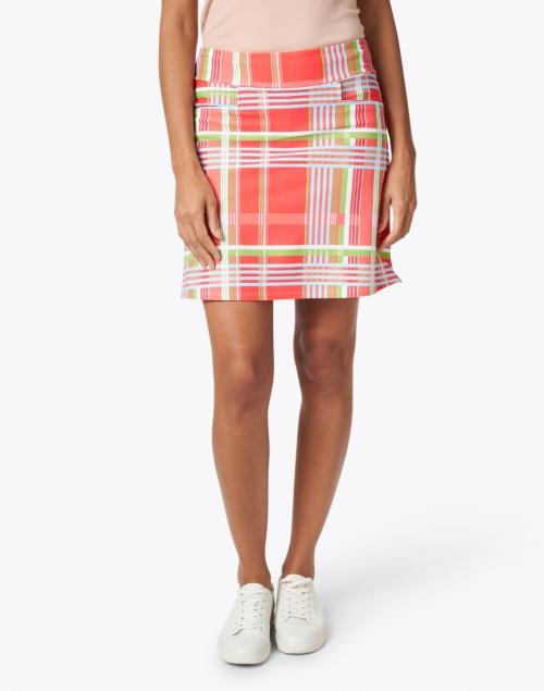 Jude Connally - Sonia Coral and Green Plaid Print Skort