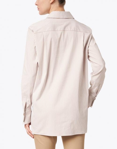 Lafayette 148 New York - Greyson Camel and White Striped Stretch Cotton Shirt