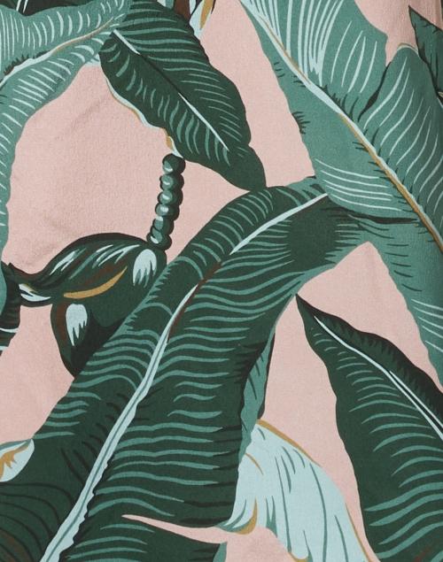 Weekend Max Mara - Orietta Green and Pink Palm Leaf Print Silk Wide Leg Pant