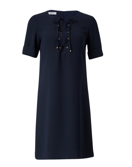 Weill - Navy Tie Front Shift Dress