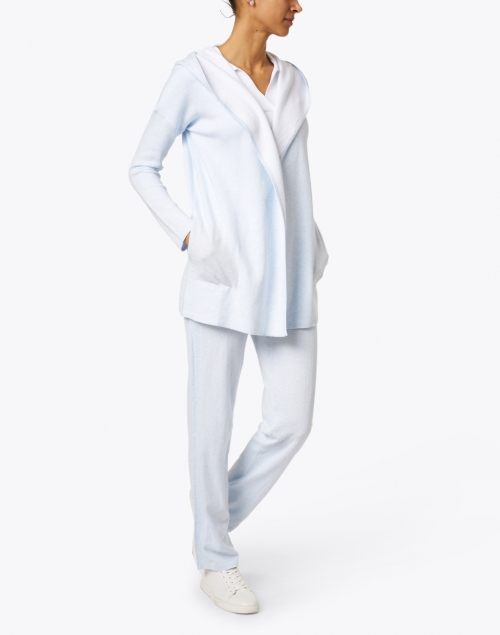 Kinross - Light Blue and White Reversible Cotton Cashmere Cardigan