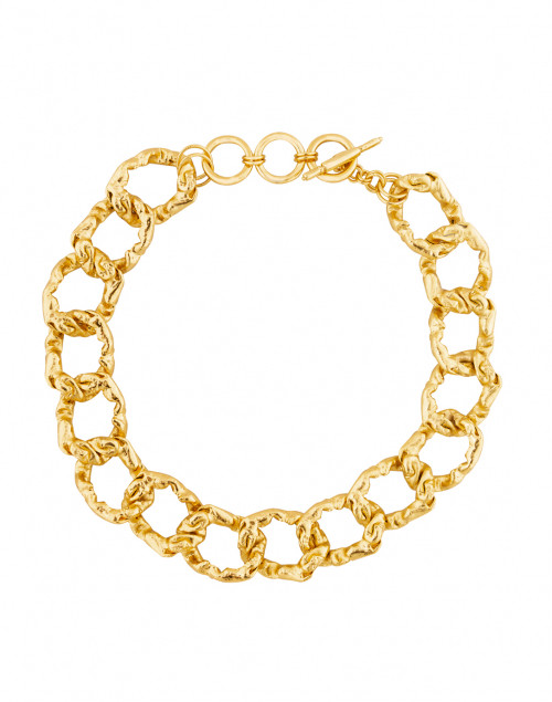 Kenneth Jay Lane - Gold Hammered Link Necklace