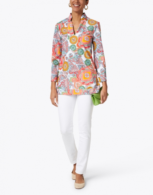 Jude Connally - Chris Coral Captiva Paisley Printed Nylon Top