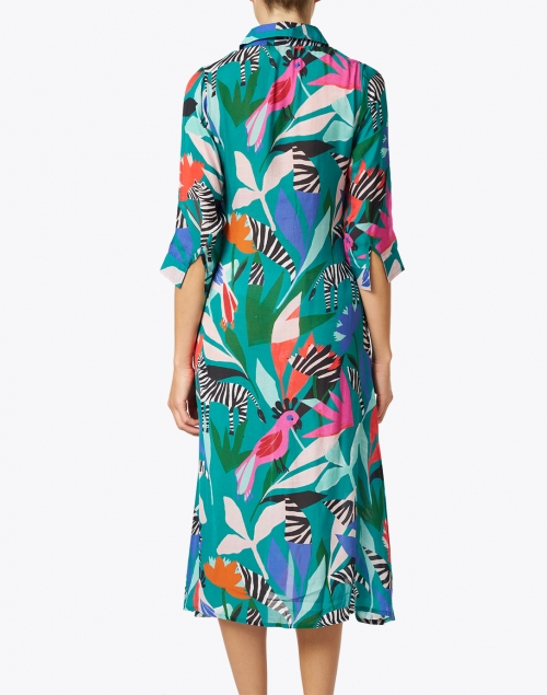 Oliphant - Panama Teal Print Silk Cotton Shirt Dress