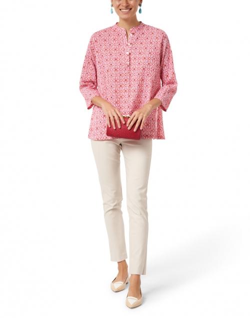 Ro's Garden - Ciara Pink Mosaic Print Cotton Top