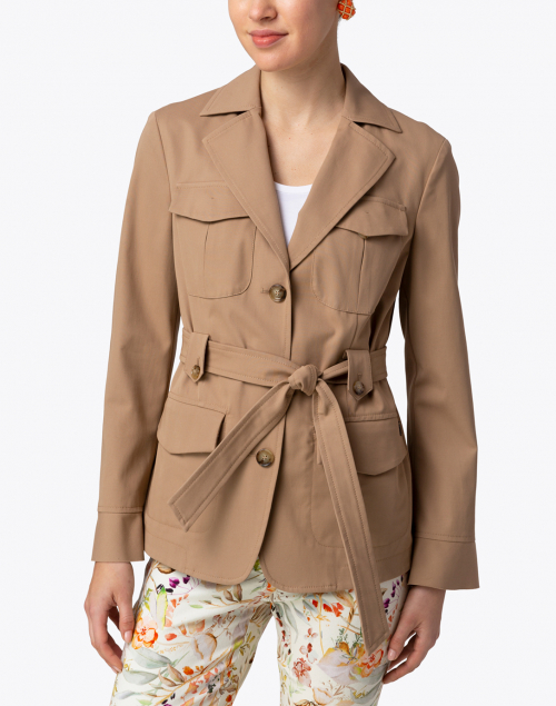Marc Cain - Clay Beige Belted Cotton Jacket