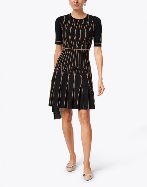 D.Exterior - Black and Camel Double Merino Geometric Dress