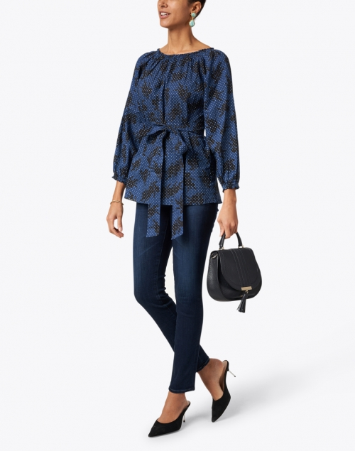 Soler - Raquel Navy and White Floral Print Cotton Top