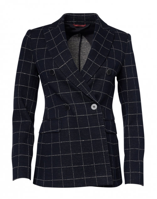 Max Mara Studio - Nitra Navy and White Check Stretch Jersey Blazer