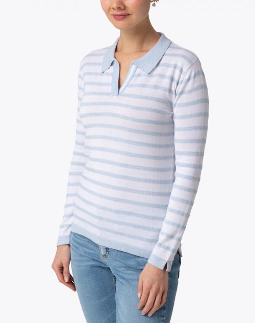 Blue - Pale Blue and White Striped Pima Cotton Polo Sweater