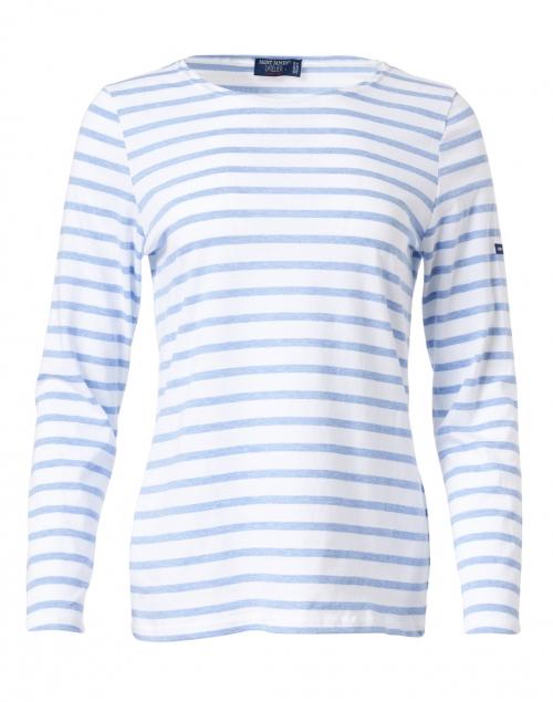 Saint James - Minquidame White and Pale Blue Striped Cotton Top