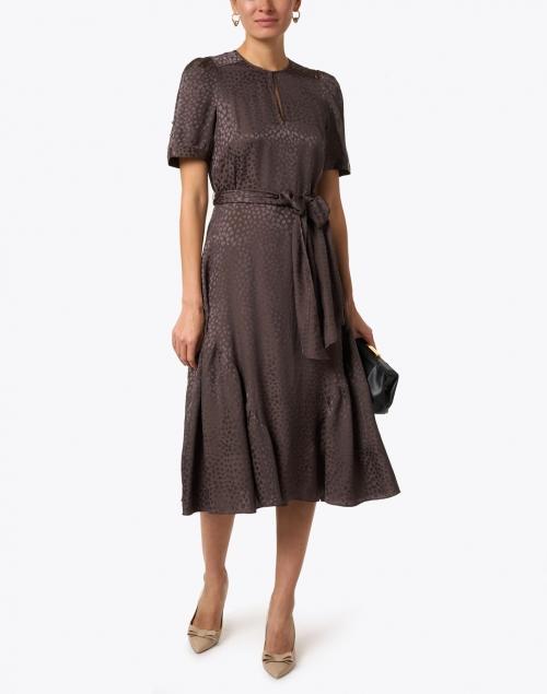 Shoshanna - Jerre Mocha Animal Jacquard Dress