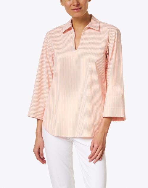 Lafayette 148 New York - Pelham Orange and White Stripe Stretch Cotton Shirt