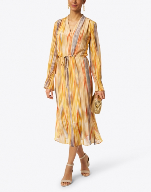 Santorelli - Nita Yellow and Blue Multicolored Georgette Dress
