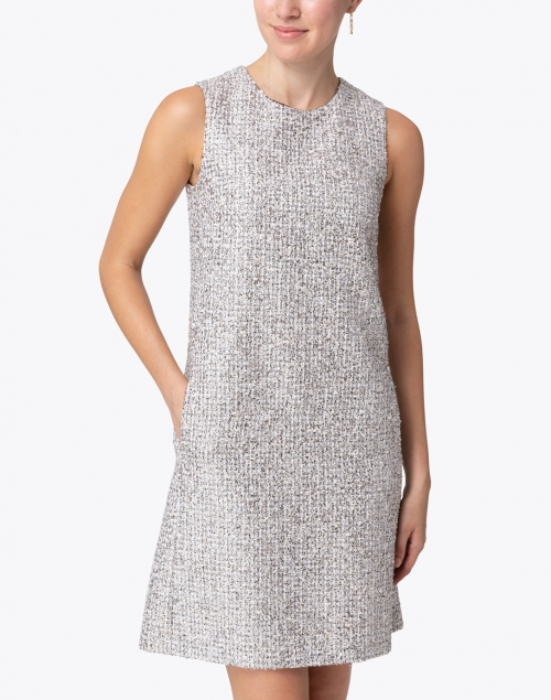 Les Copains - Cream and Black Silver Lurex Tweed Dress